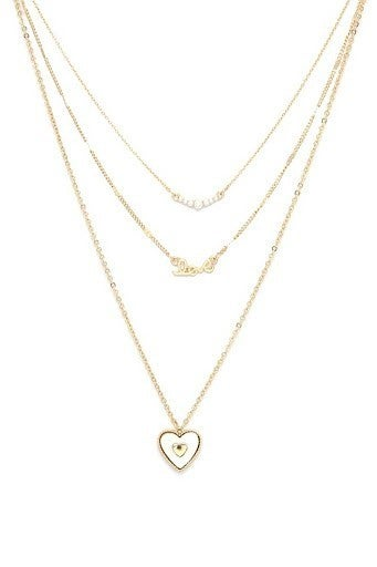 Heart Charm Cursive Love Layer Necklace