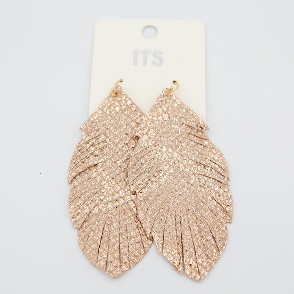 Pink & Gold Leaf Drop Earring