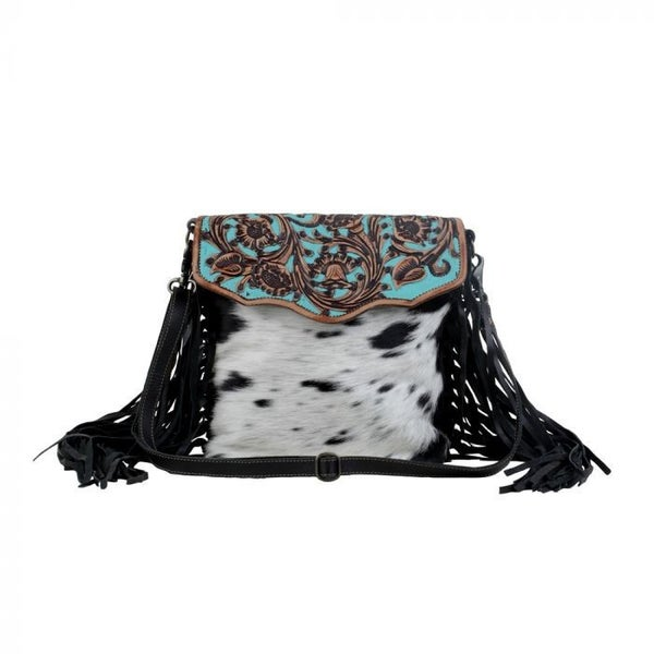 MYRA AQUA HAND-TOOLED BAG