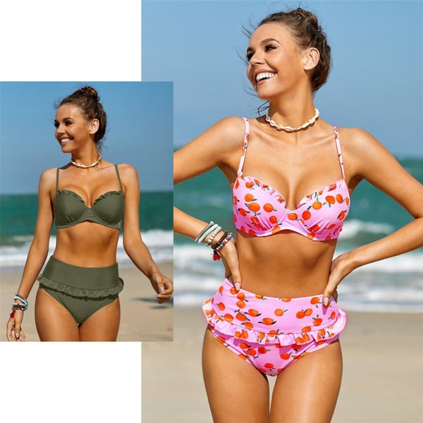 Ruffled Detail High Waist Bikini *Final Sale*