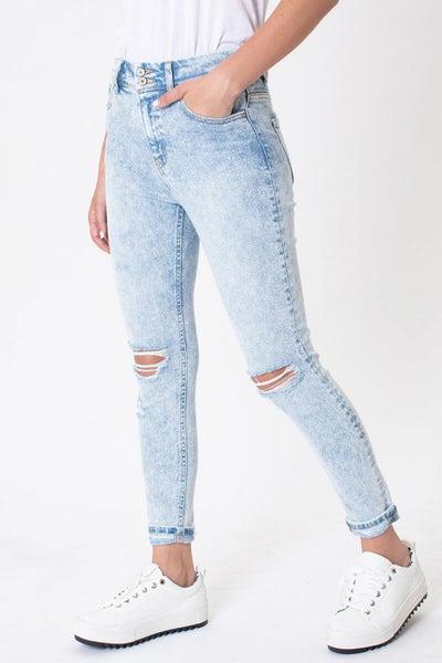 Kancan High Rise Folded Hem Ankle Skinny Jeans