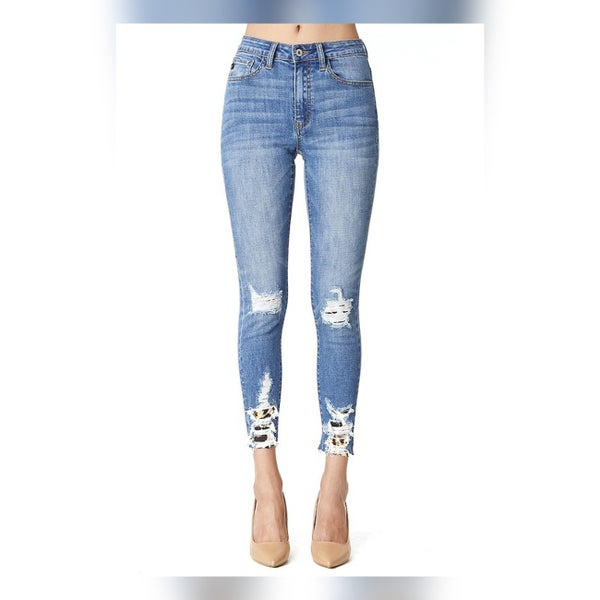 KanCan Leopard High Rise Ankle Skinny Jeans
