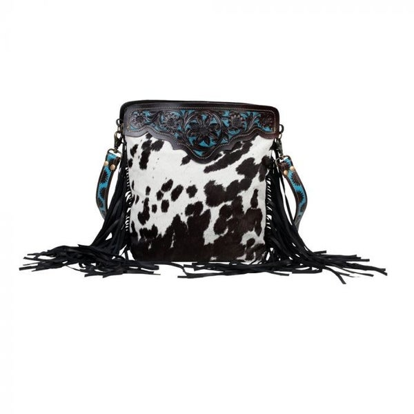 MYRA BLACK PANTHER HAND-TOOLED BAG