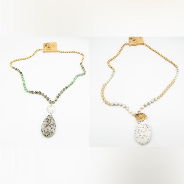 Teardrop Semi Precious Stone Necklace