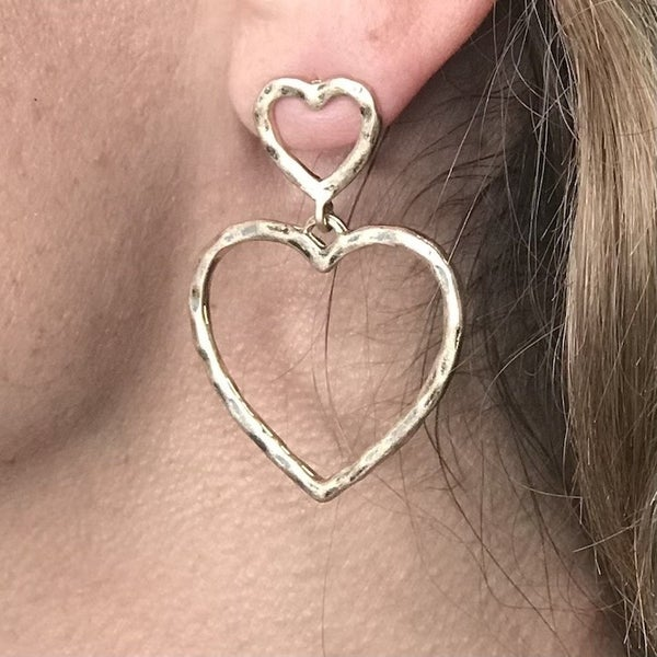 Double Cut Out heart Post Earring