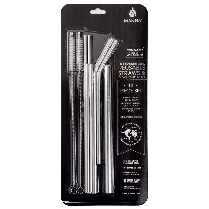 11-Piece Stainless Steel Straws with Cleaning Brush Set