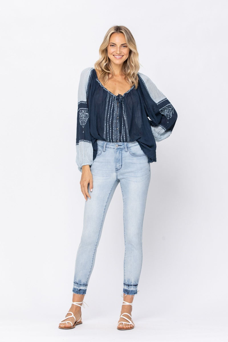 Judy Blue Mid Rise Tie Dye Skinny Jeans