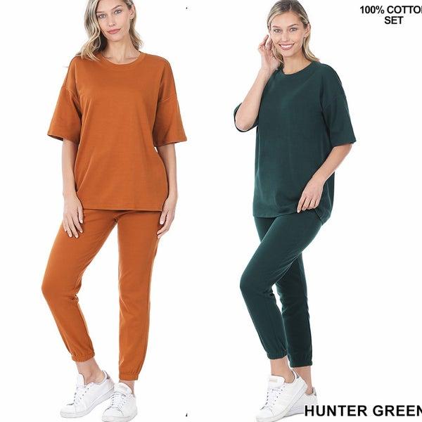 Cotton Drop Shoulder Top & Lounge Pants Set