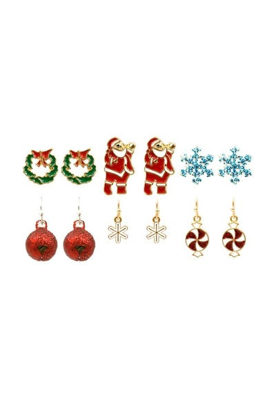 CHRISTMAS THEME EARRING 6 PAIR SET