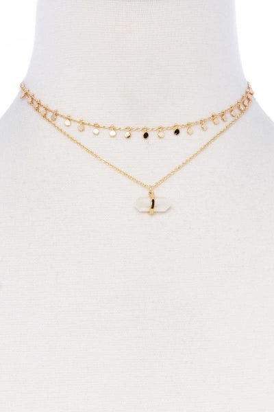 2 Layered Chain Pendant Metal Necklace