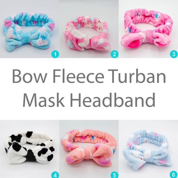 Bow Fleece Turban Mask Headband