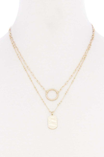 DOUBLE LAYERED CIRCLE PENDANT NECKLACE
