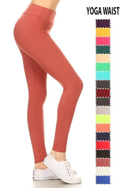 Yoga Style Solid Knit Leggings