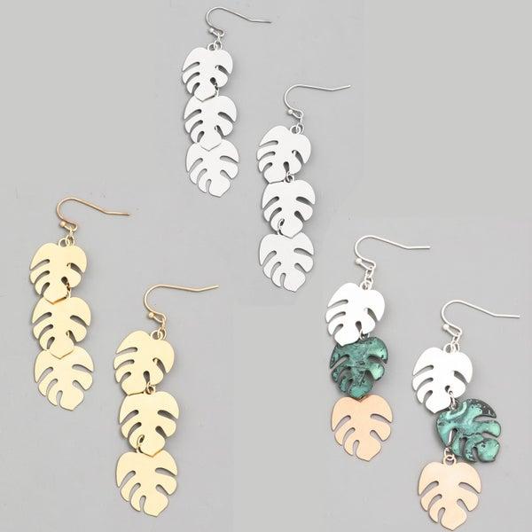 Layered Monstera Leaf Drop Earrings