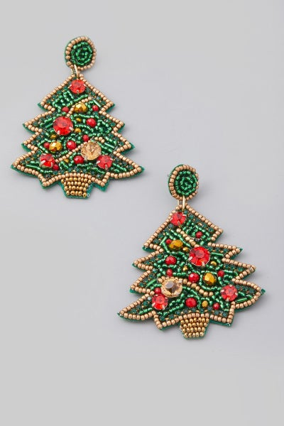 Beaded Christmas Tree Drop Earrings