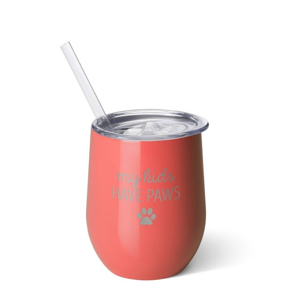 My Kids Have Paws Swig 12oz Stemless Wine Cup