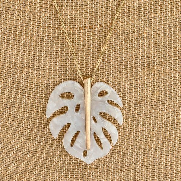 Palm Leaf Pendant Necklace