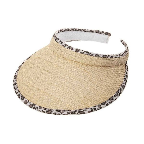 ANIMAL PRINT STRAW SUN VISOR HAT