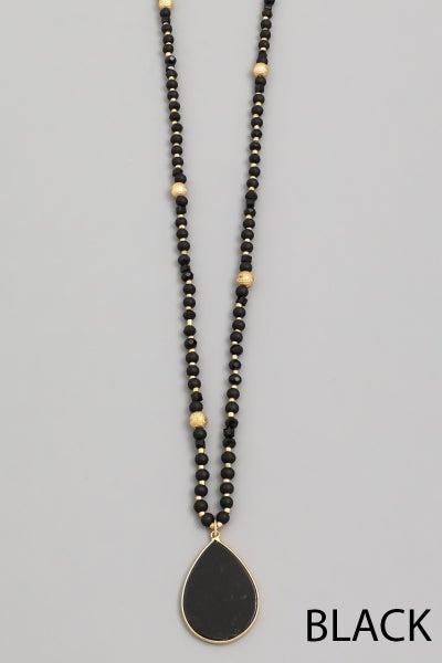 Semi Precious Teardrop Stone Pendant Necklace
