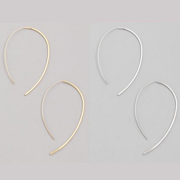 Thin Open Oval Hoop Earrings
