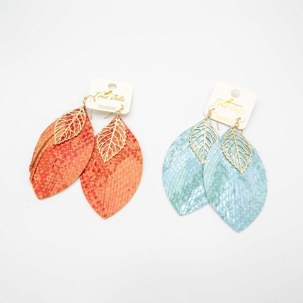 Double Gold Dipped Leaf Earrings