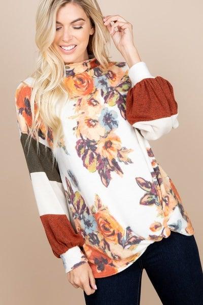 Floral Color Block Mock Neck Cashmere Pullover