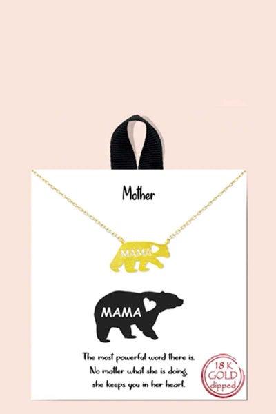 MAMA BEAR PENDANT MESSAGE NECKLACE