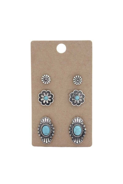 WESTERN TURQUOISE EARRING SET
