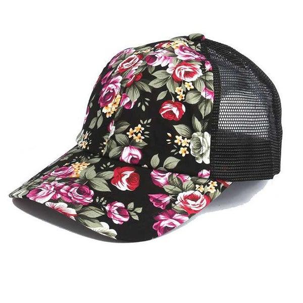 FLORAL PATTERN MESH CAP
