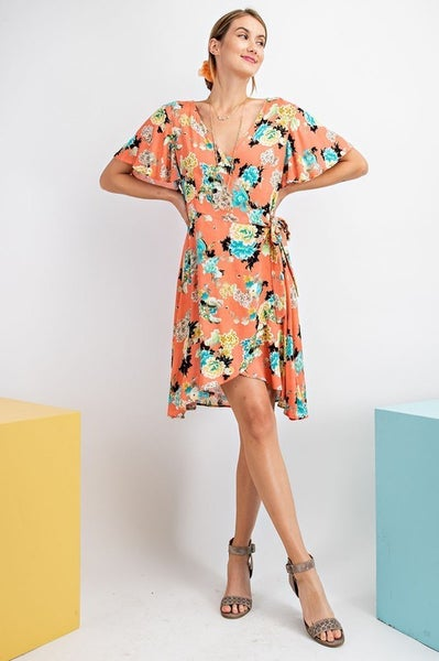 Coral Floral Dress