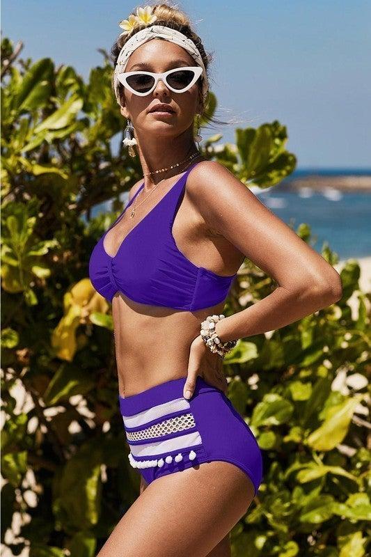 Pom Pom Decor High Waist Bikini *Final Sale*