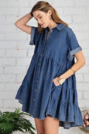 Oversized Blue Jean Baby Dress