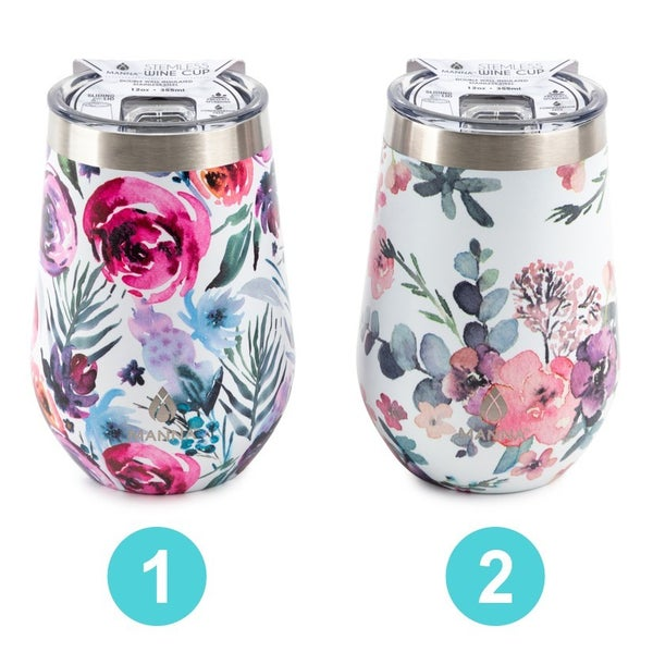 12oz Wine Tumblers - Assorted Watercolor Florals