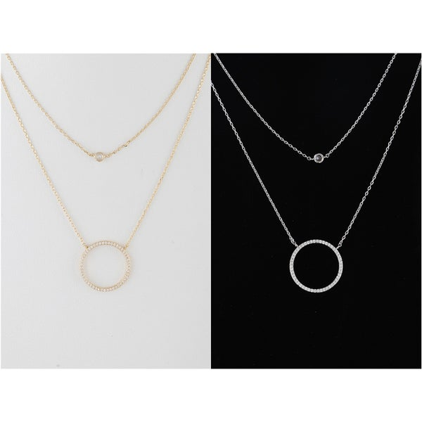 """* Double Layered Circular Pendant Necklace * 16"""" approx. * Cubic Zirconia"""