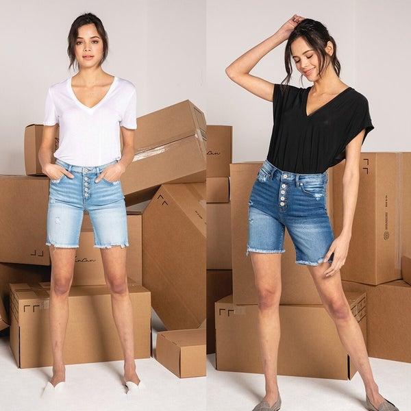 Hazel High Rise Button Down Skinny Shorts