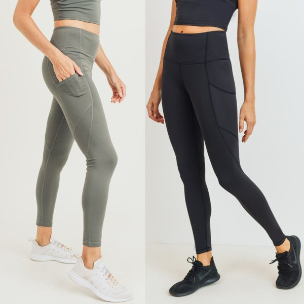 Slanted Panels Highwaist Leggings