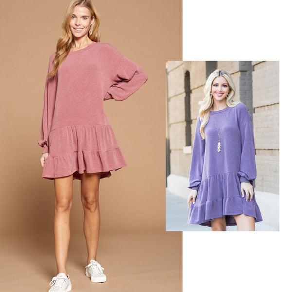 Drop Waist Ruffle Dress