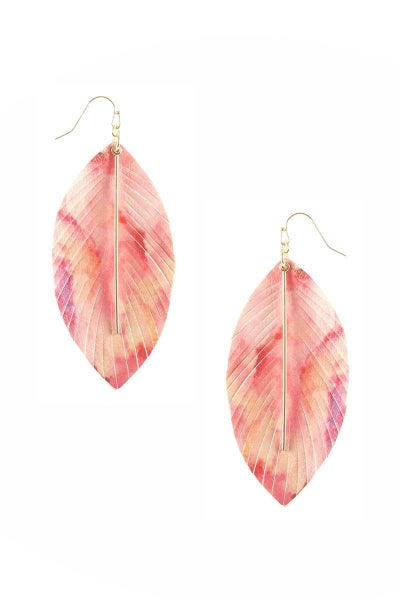 LEAF LEATHER HOOK EARRING