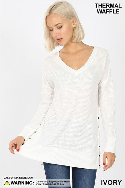 BRUSHED THERMAL WAFFLE SNAP SWEATER