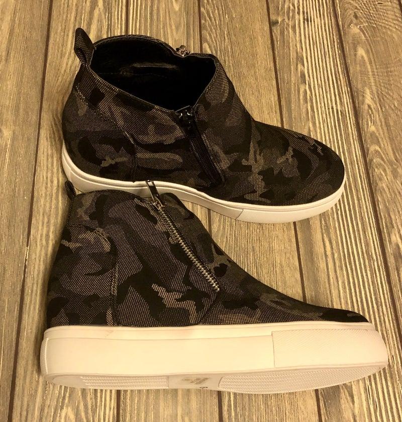 Grey Camo Heel Sneakers