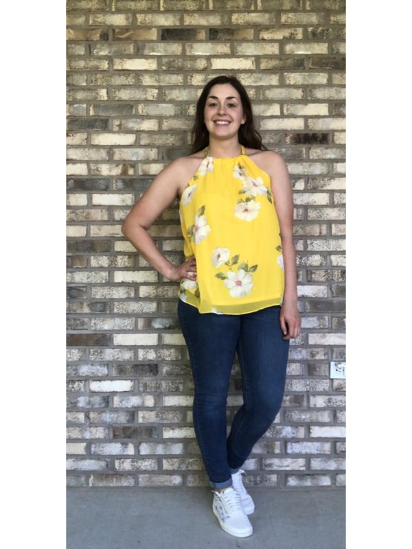 Yellow Sleeveless Floral Print Chiffon Halter Neck Top