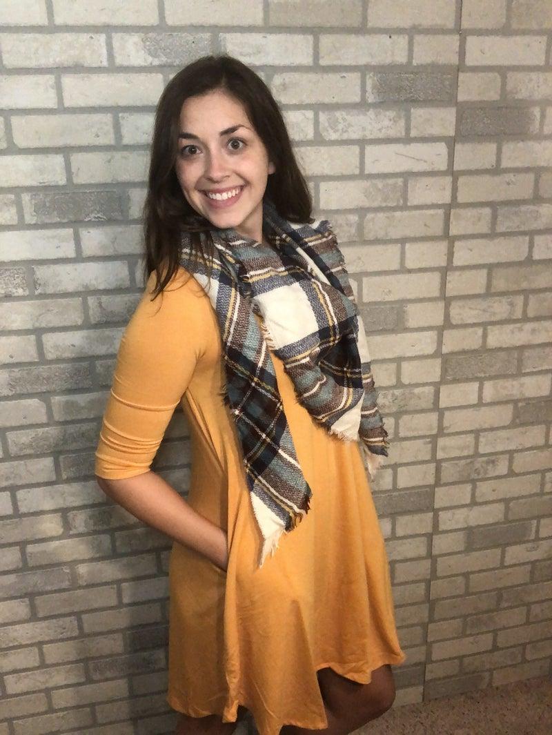 Mustard 3/4 Sleeve Dress