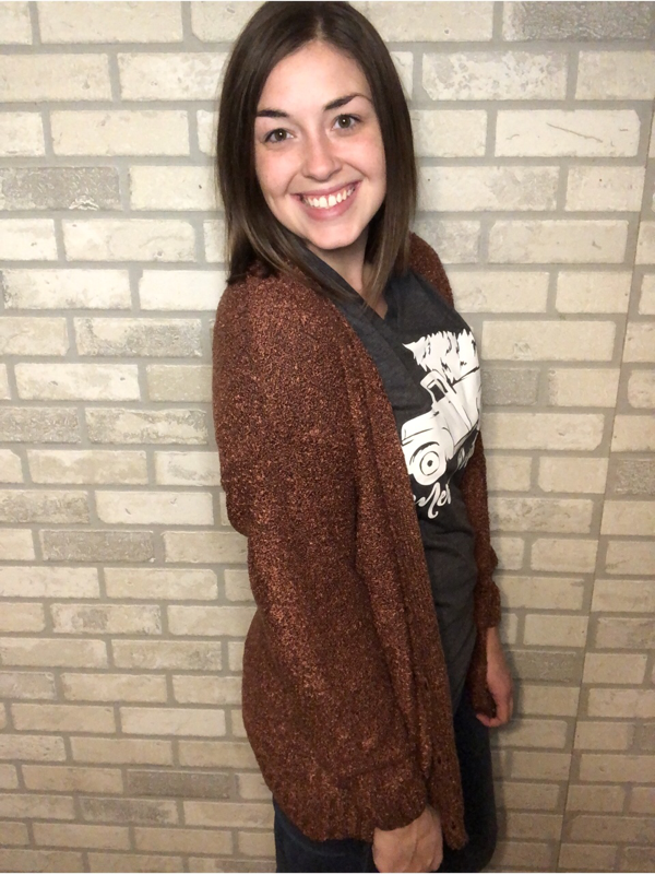 Rust Button Down Boyfriend Cardigan