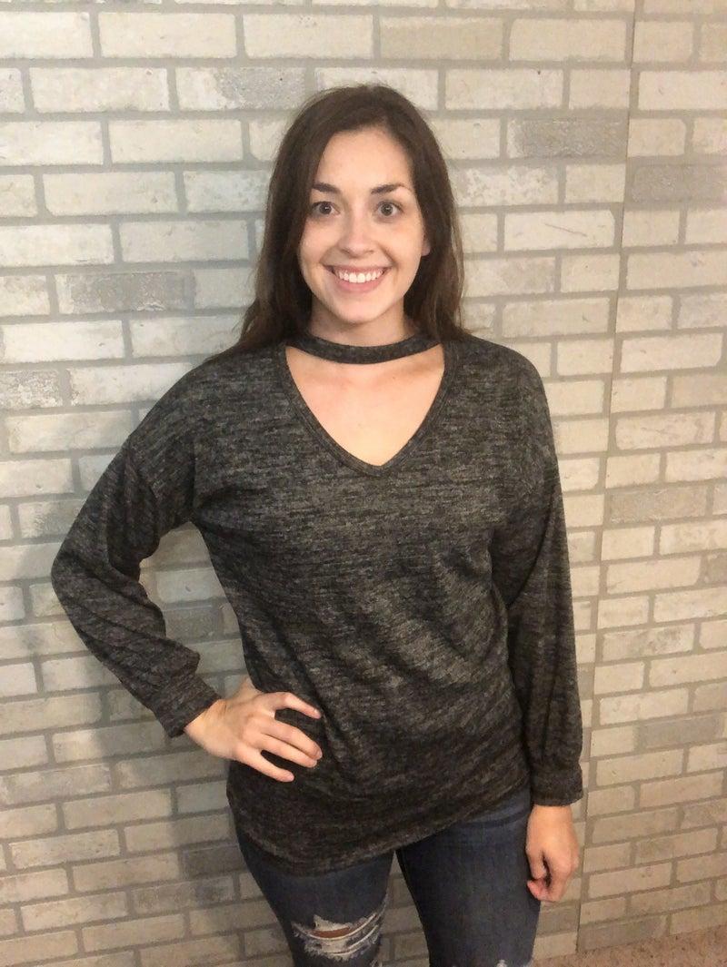 Charcoal Choker Sweater
