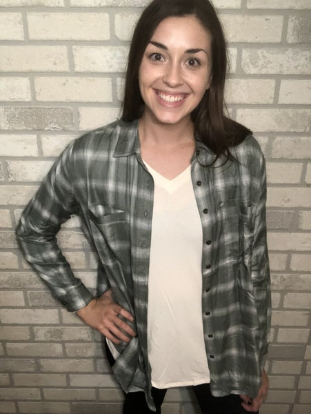 Green Hi-Low Flannel
