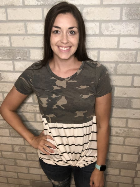 Camo & Stripes Twist Front Top