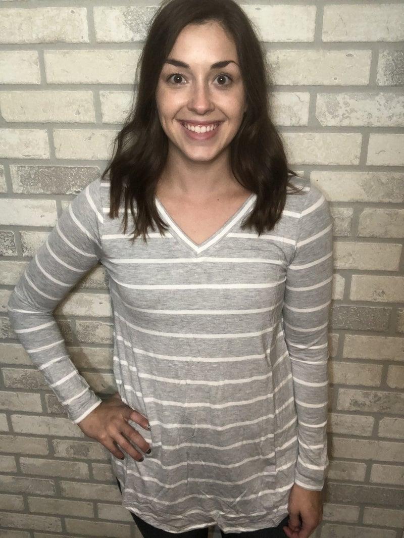 Grey & White Striped V Neck