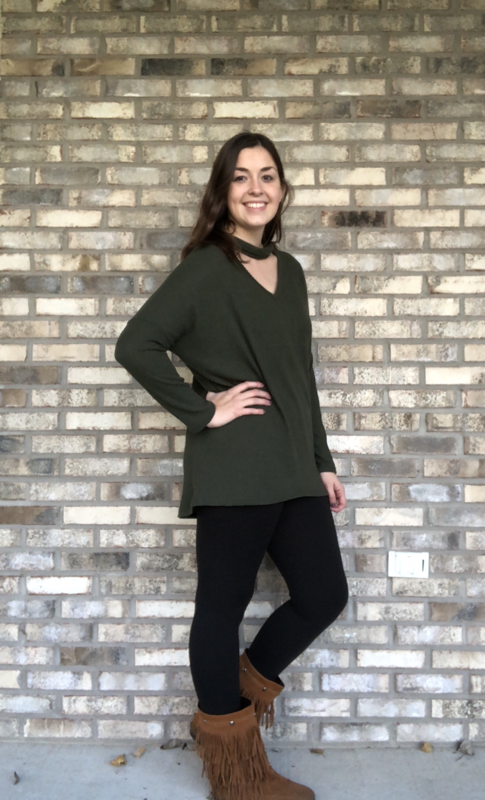 Olive Choker Thermal Sweater