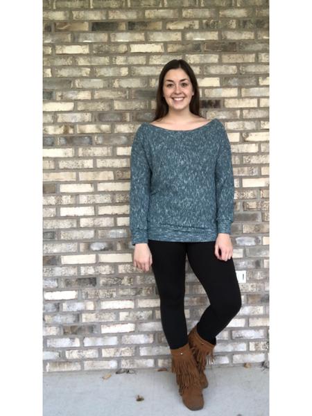 Blue Wide Collar Sweater