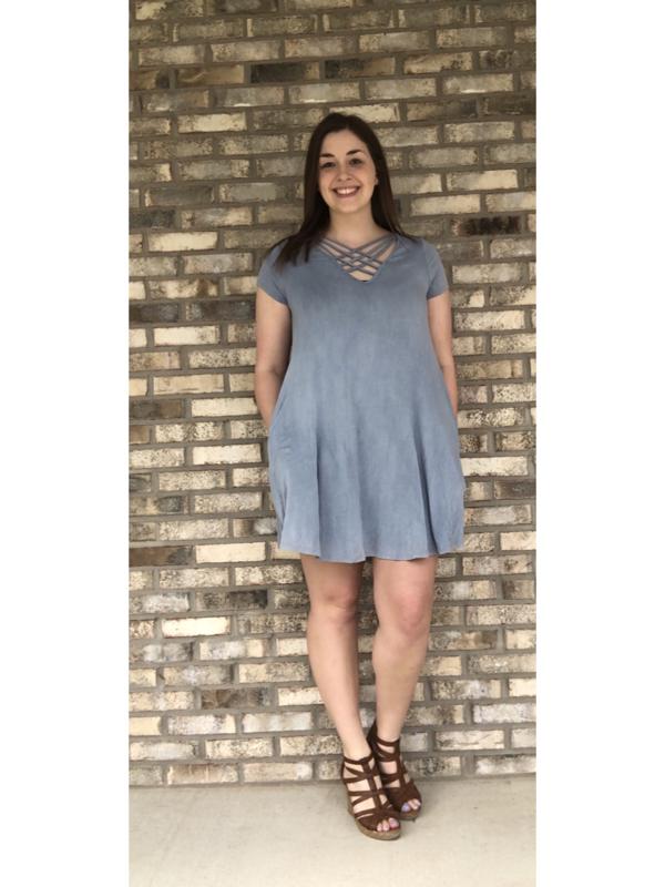 Blue Grey Short Sleeve Crisscross Top Dress